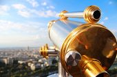 Monocular Telescope And Panoramic Views Of Paris In Sunny Day With Survey Site Of Eiffel Tower. Vaca poster