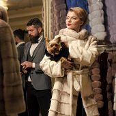 Purchase, Business, Moneybags. Couple In Love Among Fur Coat With Dog, Luxury. Fashion And Beauty, W poster