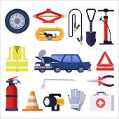 Automobile Road Emergency Kit. Car Repair And Safety Tools. Vector Flat Illustration poster