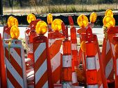 stock photo of road sign  - Lots of traffic cones - JPG