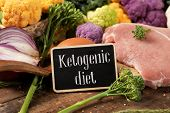 closeup of a signboard with the text ketogenic diet, a diet to treat the infantile epilepsy, on a pi poster