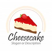 Tasty Cheesecake With Strawberry Illustration With Captions -vector Emblem Isolated On White Backgro poster