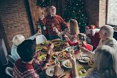 High Above Angle View Of Diverse Large Family Gathering. Cheerful Grey-haired Grandparent Saying Toa poster