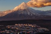 Evening Colorful Top View Of Townscape Of Petropavlovsk-kamchatsky City At Sunset On Background Clou poster