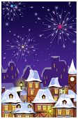Winter Townscape With Houses Roofs And Fireworks In Night Sky. Night Town Scene Vector Illustration. poster