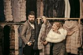 Woman In Fur Coat With Man, Shopping, Seller And Customer. Fashion And Beauty, Winter, Fur. Couple I poster