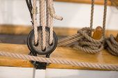 Pulley For Sails And Ropes Made From Wood On An Old Sail Boat, poster