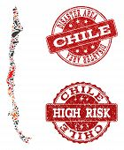 Disaster Composition Of Mosaic Map Of Chile And Scratched Seal Stamps. Vector Red Watermarks With Sc poster