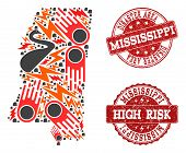Disaster Composition Of Mosaic Map Of Mississippi State And Scratched Seals. Vector Red Watermarks W poster