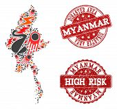 Disaster Composition Of Mosaic Map Of Myanmar And Scratched Seals. Vector Red Seals With Scratched R poster