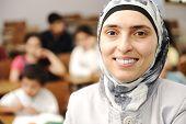 stock photo of muslim kids  - Muslim kids in the school - JPG