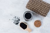 Homemade Scrub Made Of Sugar And Ground Coffee. Spa, Beauty Skincare Body Concept. poster