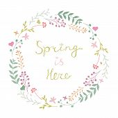 Beautiful Vector Floral Spring Wreath In Gentle Colors Isolated On White Background. Spring Is Here  poster