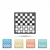 Board Game Of Checkers Icon Isolated On White Background. Ancient Intellectual Board Game. Chess Boa poster