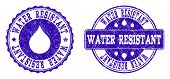 Grunge Water Resistant Stamp Seal Imprints. Water Resistant Text Inside Blue Unclean Rubber Seals Wi poster