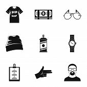 Urban Rap Icon Set. Simple Set Of 9 Urban Rap Icons For Web Design On White Background poster