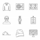 Urban Rap Icon Set. Outline Set Of 9 Urban Rap Icons For Web Design Isolated On White Background poster