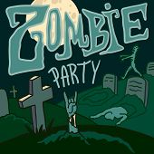 Halloween Zombie Party Concept Background. Hand Drawn Illustration Of Halloween Zombie Party Concept poster