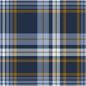 Plaid Pattern In Dusty Blue, Faded Navy And Brown. Seamless Fabric Texture. poster