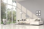 Modern Living Room Interior 3d Render.the Rooms Have White Floors And Gray Wall.furnished With White poster