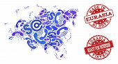 Business Contacts Collage Of Blue Mosaic Map Of Europe And Asia And Scratched Seals. Vector Red Seal poster