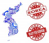 Business Contacts Combination Of Blue Mosaic Map Of Korea And Scratched Stamps. Vector Red Watermark poster
