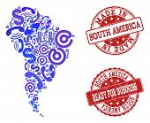 Business Contacts Composition Of Blue Mosaic Map Of South America And Scratched Seals. Vector Red Im poster
