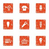 Environmental Advertising Icons Set. Grunge Set Of 9 Environmental Advertising Icons For Web Isolate poster