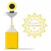 Vector Illustration For Yellow Bottle Sunflower Oil, Plastic Jar With Black Seeds. Sunflower Pattern poster
