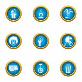 Private Circus Icons Set. Flat Set Of 9 Private Circus Icons For Web Isolated On White Background poster