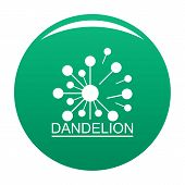 Meadow Dandelion Logo Icon. Simple Illustration Of Meadow Dandelion Vector Icon For Any Design Green poster