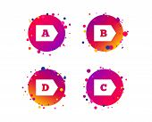 Energy Efficiency Class Icons. Energy Consumption Sign Symbols. Class A, B, C And D. Gradient Circle poster
