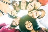 Multicultural Best Friends Millenials Taking Selfie With Back Lighting - Happy Youth Friendship Conc poster