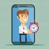 Young Man From Smartphone Screen Giving Alarm Clock , Isolated On Background. Time Management. Busin poster
