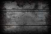 Dark Black Metallic Wall Background Texture With Dark Vignetting. Grunge Surface poster