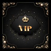 Vip Invitation Template With Golden Crown, Decorative Corners And Sparkling Confetti On Black Backgr poster