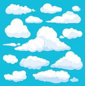 Fluffy Cartoon Clouds. Shine Sky Weather Illustration Panorama Clean Vector Set Isolated. Cloudscape poster