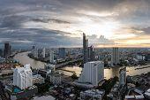 Bangkok City - Beautiful Sunset Curve Chao Phraya River Panoramic Cityscape Urban  Of Bangkok City A poster