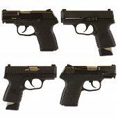 stock photo of 9mm  - Handguns isolated on white background depicting a black 9mm kel - JPG