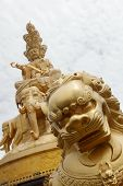 image of emei  - Golden Buddha statue on Mount Emei summit in china - JPG