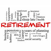 picture of last day work  - Retirement Word Cloud Concept in red and black letters with great terms such as security pension savings future enjoy and more - JPG