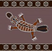 stock photo of platypus  - A illustration based on aboriginal style of dot painting depicting Platypus - JPG