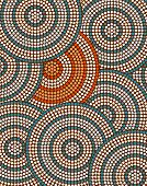 stock photo of aborigines  - A illustration based on aboriginal style of dot painting depicting circle background - JPG