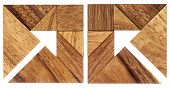stock photo of tangram  - two abstract pictures of an arrow built from seven tangram wooden pieces - JPG