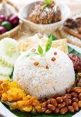 stock photo of nasi  - Nasi lemak traditional malaysia spicy rice dish - JPG