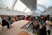 MOSCOW - SEP 27: Presentation of Russian National Prize of the authors fashion on exhibition - fair