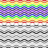 foto of curvy  - Curvy Seamless Pattern in Monochrome and Rainbow Colors - JPG