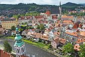 Aerial View Of The Old Town Of Cesky Krumlov