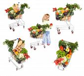 pic of healthy food  - Little girl shopping for healthy food collage  - JPG