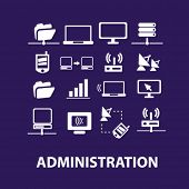 administration, networks, technology, computer, information, connect, link, communication, data icon